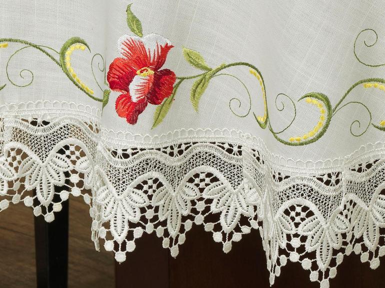 Toalha de Mesa com Bordado Richelieu Redonda 180cm - Glória Natural e Carmim - Dui Design