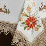 Toalha de Mesa Natal com Bordado Richelieu Retangular 8 Lugares 160x270cm - Gloriosa Branco - Dui Design