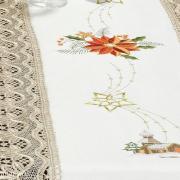 Trilho de Mesa Natal com Bordado Richelieu 45x170cm Avulso - Gloriosa Branco - Dui Design