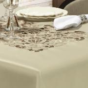 Toalha de Mesa com Bordado Richelieu Retangular 8 Lugares 160x270cm - Godiva Caqui - Dui Design