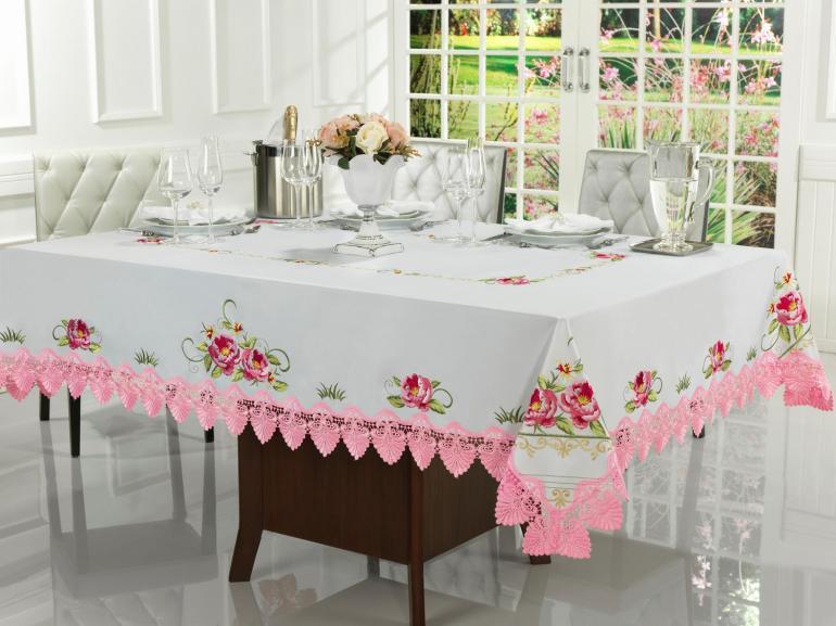 Toalha de Mesa com Bordado Richelieu Retangular 6 Lugares 160x220cm - Grace Branco e Rosa - Dui Design
