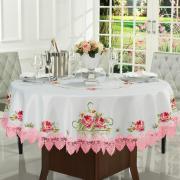 Toalha de Mesa com Bordado Richelieu Redonda 180cm - Grace Branco e Rosa - Dui Design