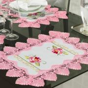 Jogo Americano 4 Lugares (4 peças) com Bordado Richelieu 35x50cm - Grace Branco e Rosa - Dui Design