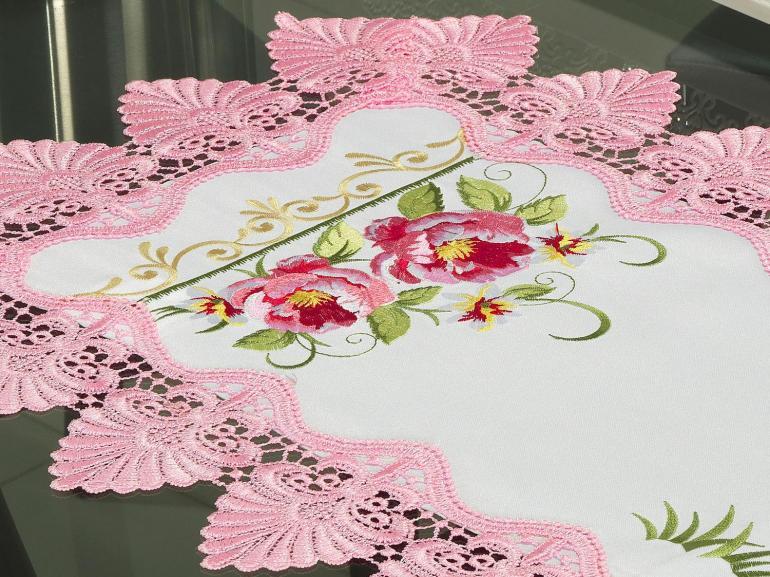 Trilho de Mesa com Bordado Richelieu 40x85cm Avulso - Grace Branco e Rosa - Dui Design