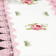 Trilho de Mesa com Bordado Richelieu 45x170cm Avulso - Grace Branco e Rosa - Dui Design