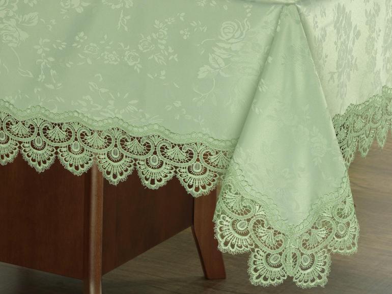 Toalha de Mesa com Bordado Guipir Fácil de Limpar Quadrada 4 Lugares 160x160cm - Gracy Chá Verde - Dui Design