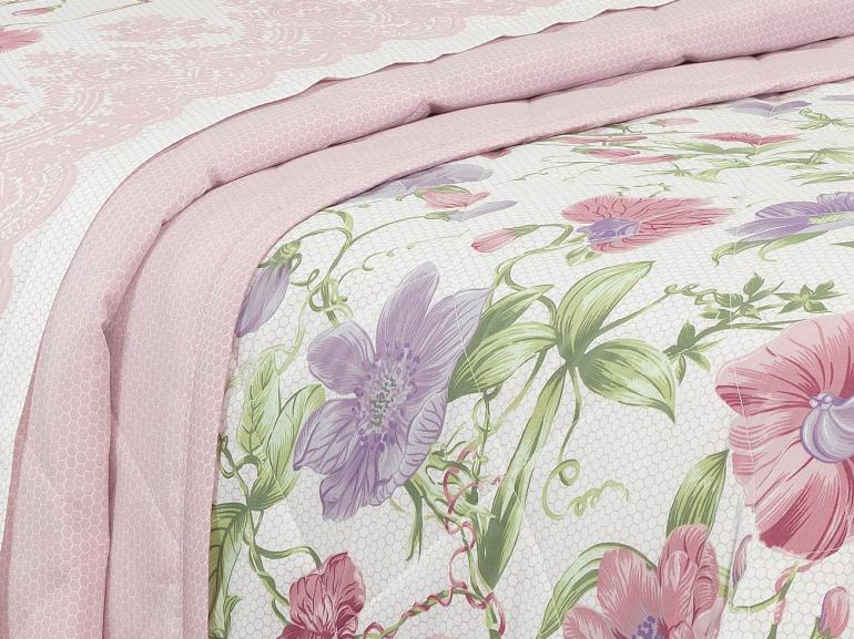 Kit: 1 Cobre-leito Solteiro + 1 Porta-travesseiro Percal 200 fios - Graciance Rosa Velho - Dui Design