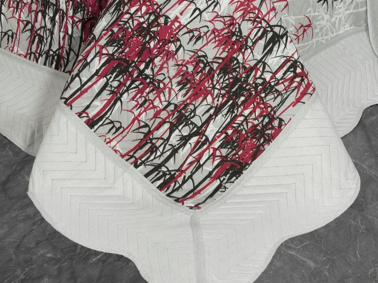 Kit: 1 Cobre-leito Solteiro Bouti de Microfibra Ultrasonic Estampada + 1 Porta-travesseiro - Haito Cinza - Dui Design