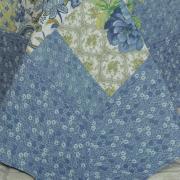 Kit: 1 Cobre-leito Casal Bouti de Microfibra Ultrasonic Estampada + 2 Porta-travesseiros - Hanani Azul - Dui Design