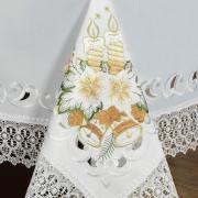 Toalha de Mesa Natal com Bordado Richelieu Quadrada 4 Lugares 160x160cm - Harmonia Branco - Dui Design