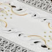 Trilho de Mesa Natal com Bordado Richelieu 40x85cm - Harmonia Branco - Dui Design