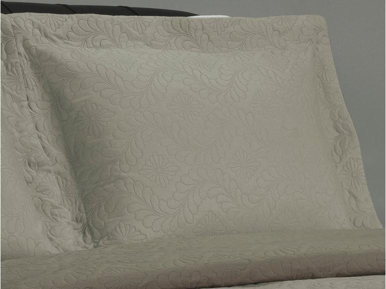 Kit: 1 Cobre-leito Casal Bouti de Microfibra Ultrasonic + 2 Porta-travesseiros - Haven Bege e Taupe - Dui Design
