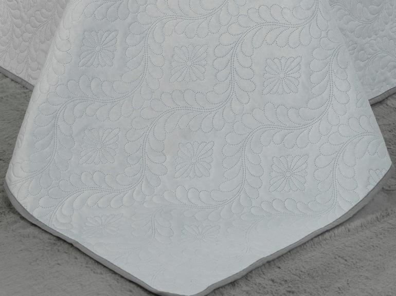 Kit: 1 Cobre-leito King Bouti de Microfibra Ultrasonic + 2 Porta-travesseiros - Haven Branco e Cinza - Dui Design