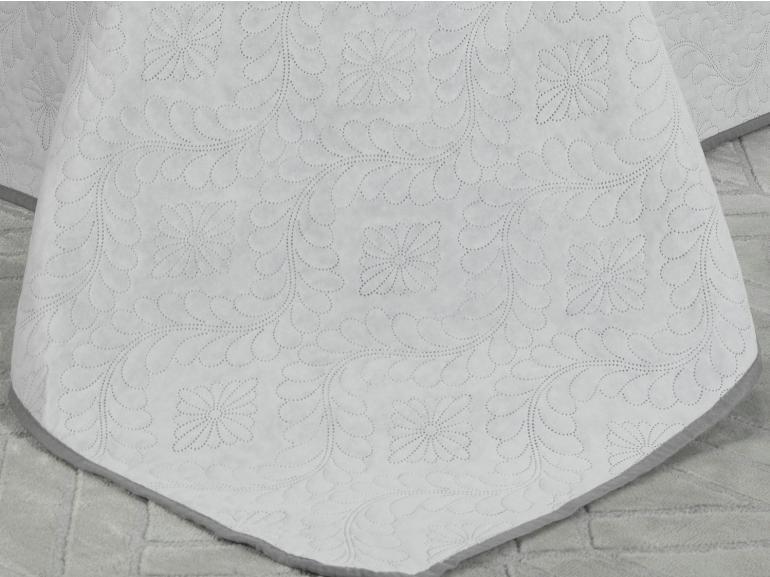 Kit: 1 Cobre-leito Casal Bouti de Microfibra Ultrasonic + 2 Porta-travesseiros - Haven Branco e Cinza - Dui Design