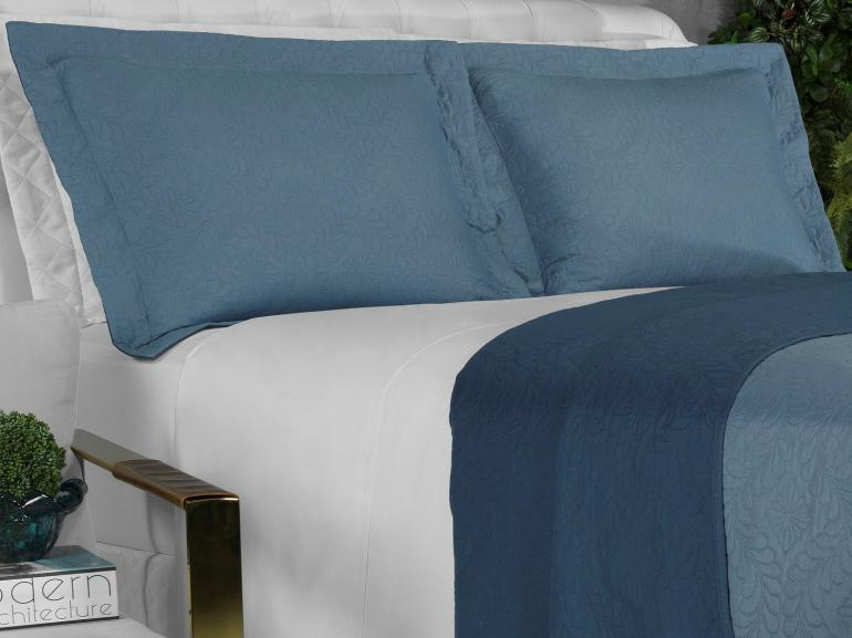 Kit: 1 Cobre-leito Solteiro Bouti de Microfibra Ultrasonic + 1 Porta-travesseiro - Haven Indigo - Dui Design