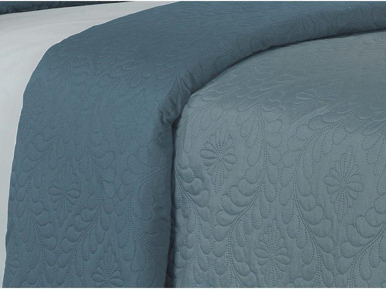Kit: 1 Cobre-leito King Bouti de Microfibra Ultrasonic + 2 Porta-travesseiros - Haven Indigo - Dui Design