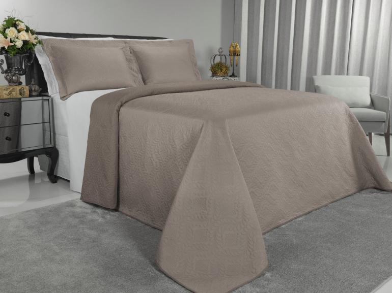 Kit: 1 Cobre-leito King Bouti de Microfibra Ultrasonic + 2 Porta-travesseiros - Haven Noz Moscada - Dui Design