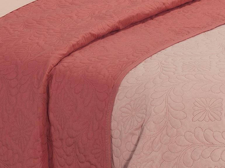 Kit: 1 Cobre-leito Queen Bouti de Microfibra Ultrasonic + 2 Porta-travesseiros - Haven Nude e Terracota - Dui Design
