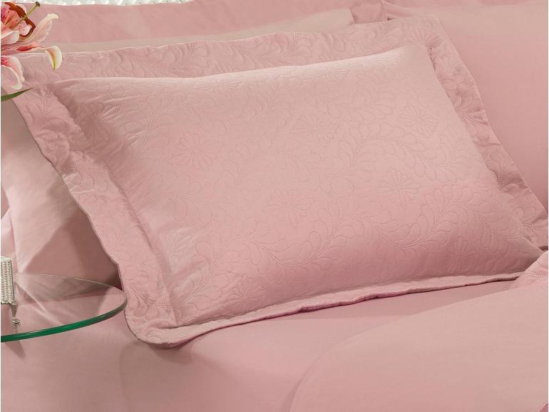 Kit: 1 Cobre-leito Queen Bouti de Microfibra Ultrasonic + 2 Porta-travesseiros - Haven Rosa e Rosa Velho - Dui Design
