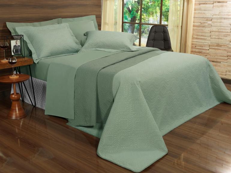 Kit: 1 Cobre-leito Queen Bouti de Microfibra Ultrasonic + 2 Porta-travesseiros - Haven Verde e Confrei - Dui Design