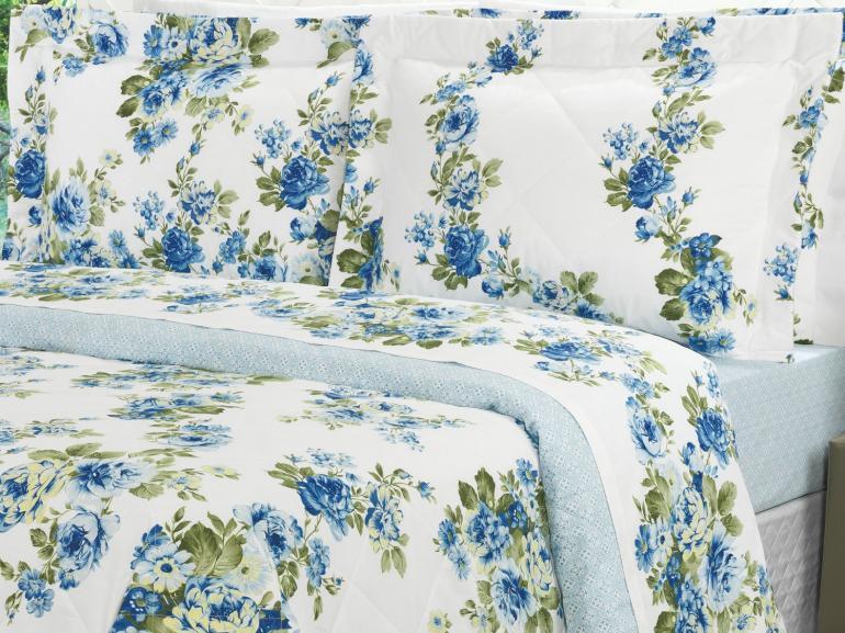 Kit: 1 Cobre-leito Solteiro + 1 Porta-travesseiro Percal 200 fios - Helena Azul - Dui Design