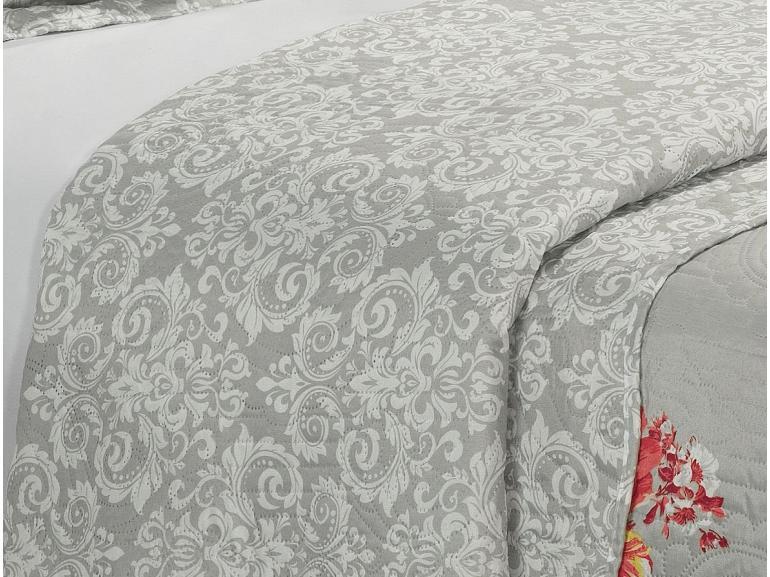 Kit: 1 Cobre-leito Queen Bouti de Microfibra Ultrasonic Estampada + 2 Porta-travesseiros - Helena Carmin - Dui Design