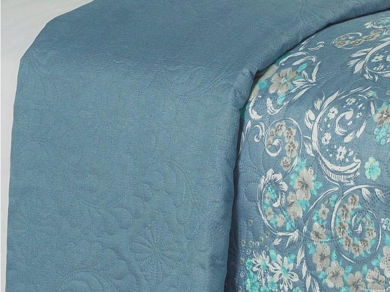 Kit: 1 Cobre-leito King Bouti de Microfibra Ultrasonic Estampada + 2 Porta-travesseiros - Henrieta Azul - Dui Design