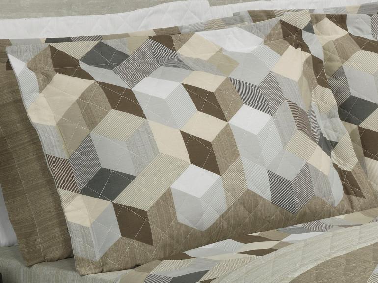 Kit: 1 Cobre-leito Casal + 2 Porta-travesseiros 150 fios - Henry Taupe - Dui Design