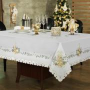 Toalha de Mesa Natal com Bordado Richelieu Retangular 6 Lugares 160x220cm - Holly Bege - Dui Design