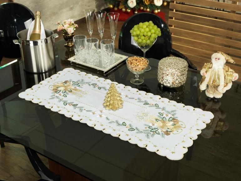 Trilho de Mesa Natal com Bordado Richelieu 40x85cm Avulso - Holly Bege - Dui Design