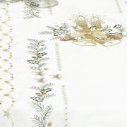 Trilho de Mesa Natal com Bordado Richelieu 45x170cm Avulso - Holly Bege - Dui Design