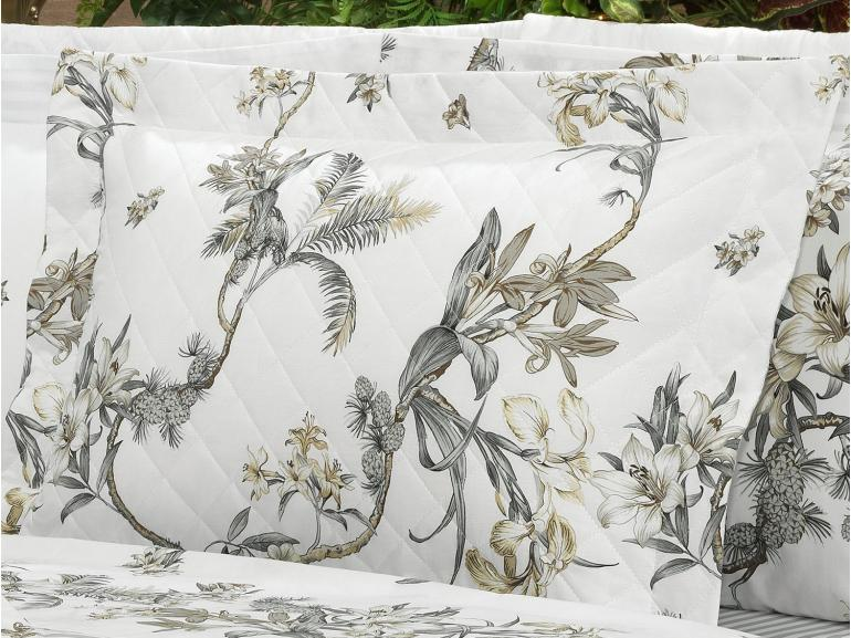 Kit: 1 Cobre-leito Solteiro + 1 Porta-travesseiro Percal 200 fios - Honolulu Cinza - Dui Design