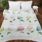 Cobertor Avulso Solteiro Flanelado com Estampa Digital - Hortensias - Dui Design
