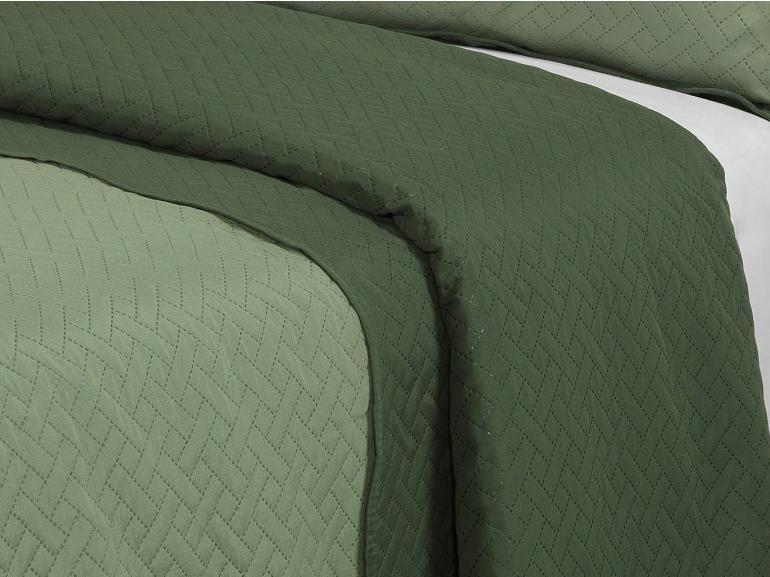 Kit: 1 Cobre-leito Queen Bouti de Microfibra Ultrasonic + 2 Porta-travesseiros - Horus Oliva - Dui Design