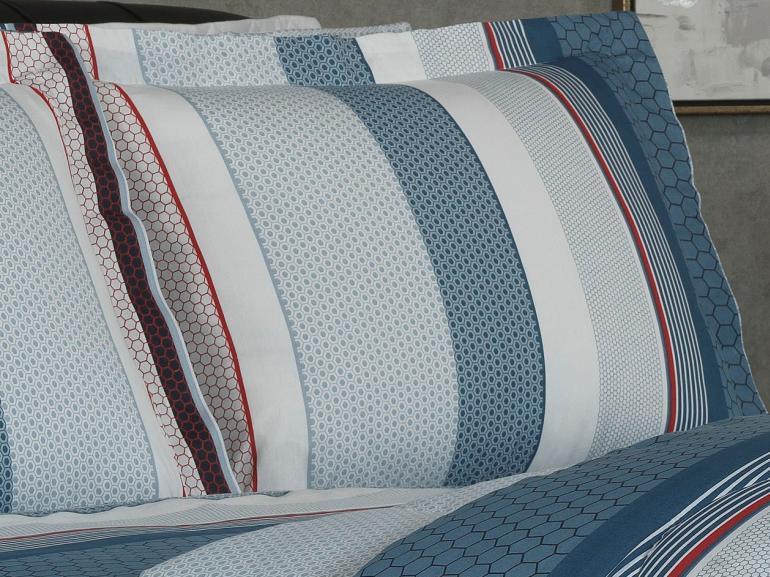 Jogo de Cama Queen Percal 180 fios - Hunter Azul - Dui Design