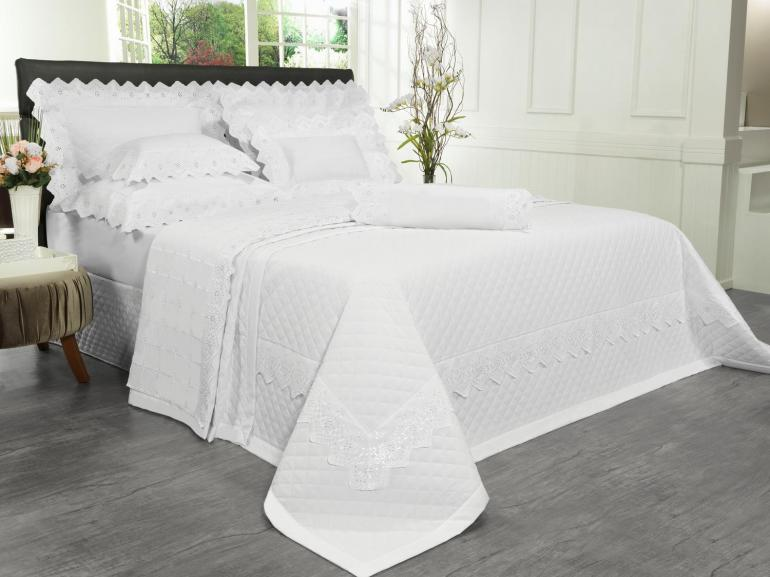 Kit: 1 Cobre-leito Solteiro + 1 porta-travesseiro Percal 200 fios com Bordado Inglês - Imperialle Branco - Dui Design