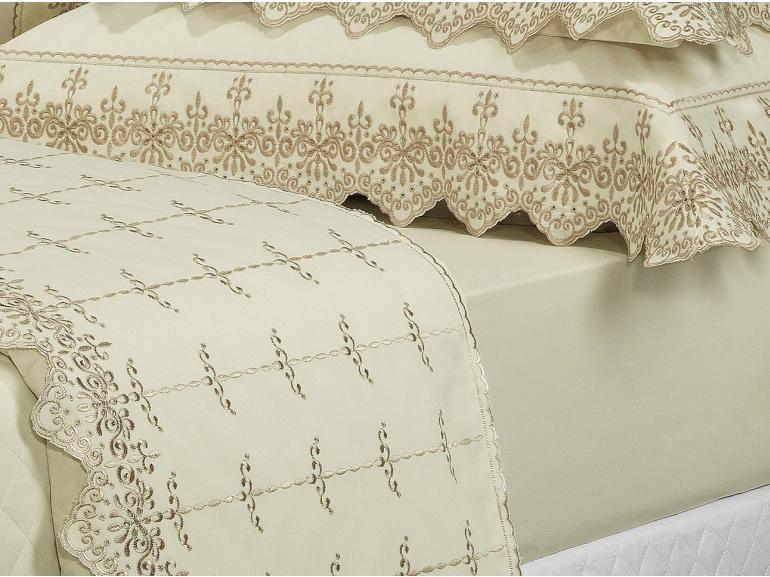 Jogo de Cama Solteiro Percal 200 fios com Bordado Inglês - Imperialle Marfim e Camurça - Dui Design