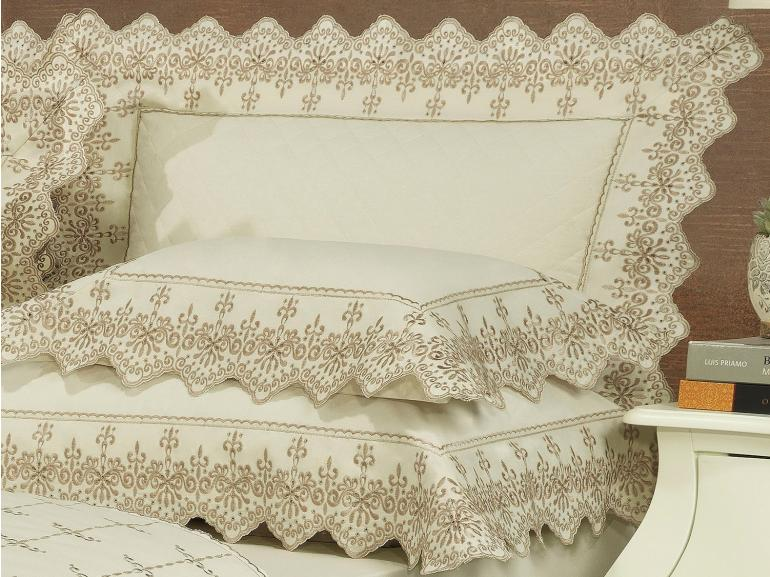 Jogo de Cama Casal Percal 200 fios com Bordado Inglês - Imperialle Marfim e Camurça - Dui Design