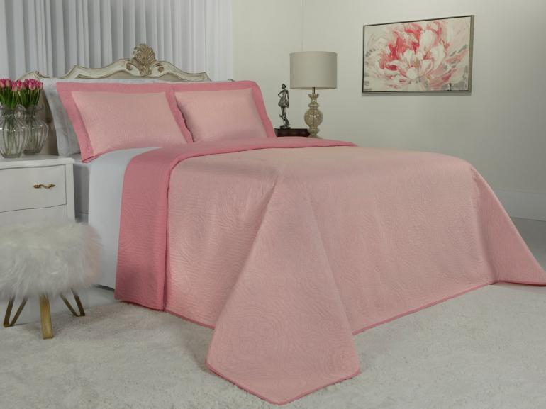 Kit: 1 Cobre-leito Queen Bouti de Microfibra Ultrasonic + 2 Porta-travesseiros - Imperio Rosa Cristal - Dui Design
