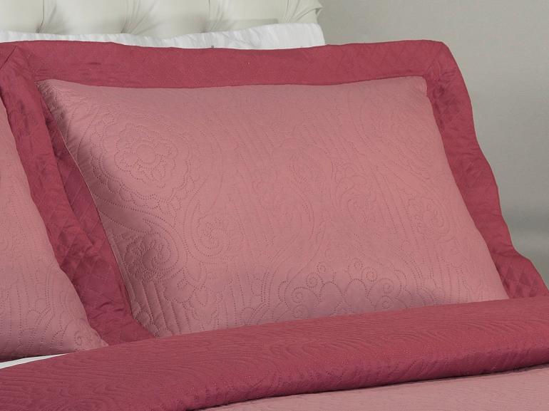 Kit: 1 Cobre-leito Casal Bouti de Microfibra Ultrasonic + 2 Porta-travesseiros - Imperio Rosa Velho - Dui Design