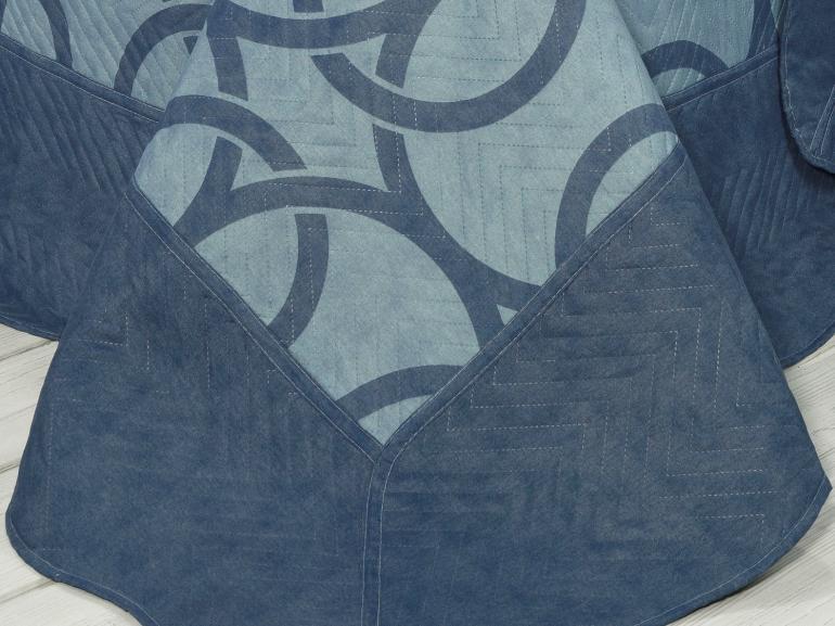 Kit: 1 Cobre-leito Casal Bouti de Microfibra Ultrasonic Estampada + 2 Porta-travesseiros - Infinito Indigo - Dui Design
