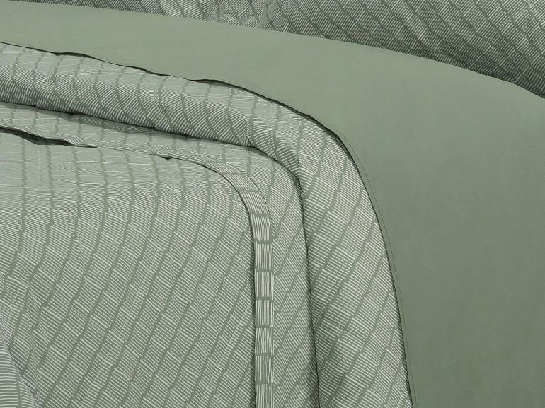 Kit: 1 Cobre-leito Solteiro + 1 Porta-travesseiro Percal 200 fios - Ipsum 1 Confrei - Dui Design
