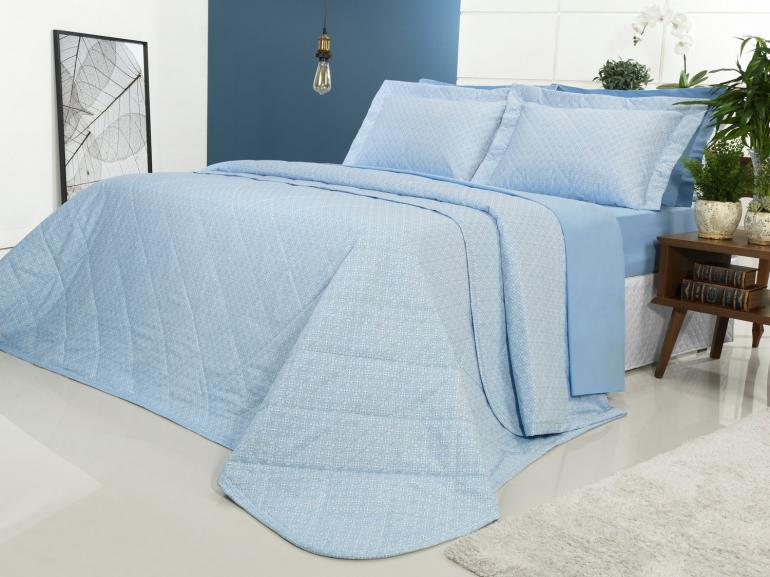 Kit: 1 Cobre-leito King + 2 Porta-travesseiros Percal 200 fios - Ipsum 2 Azul - Dui Design
