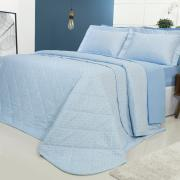 Kit: 1 Cobre-leito Casal + 2 Porta-travesseiros Percal 200 fios - Ipsum 2 Azul - Dui Design