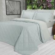 Kit: 1 Cobre-leito Solteiro + 1 Porta-travesseiro Percal 200 fios - Ipsum 3 Cinza - Dui Design
