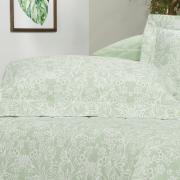 Kit: 1 Cobre-leito Solteiro + 1 Porta-travesseiro Percal 200 fios - Ipsum 4 Verde Celadon - Dui Design