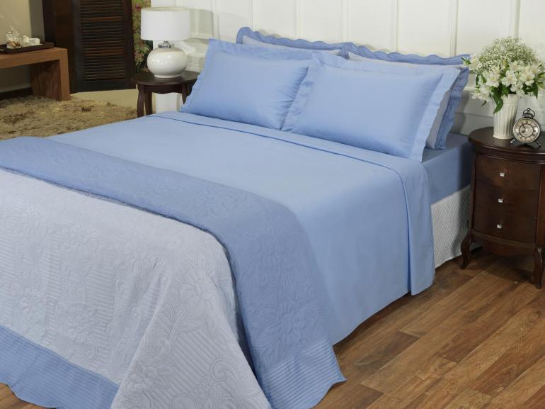 Jogo de Cama Casal Percal 200 fios 100% Algodão - Ipsum Azul - Dui Design