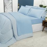 Jogo de Cama Queen Percal 200 fios 100% Algodão - Ipsum Azul - Dui Design