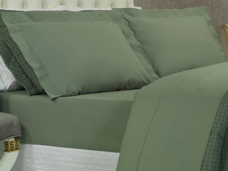Jogo de Cama King Percal 200 fios 100% Algodão - Ipsum Verde Confrei - Dui Design