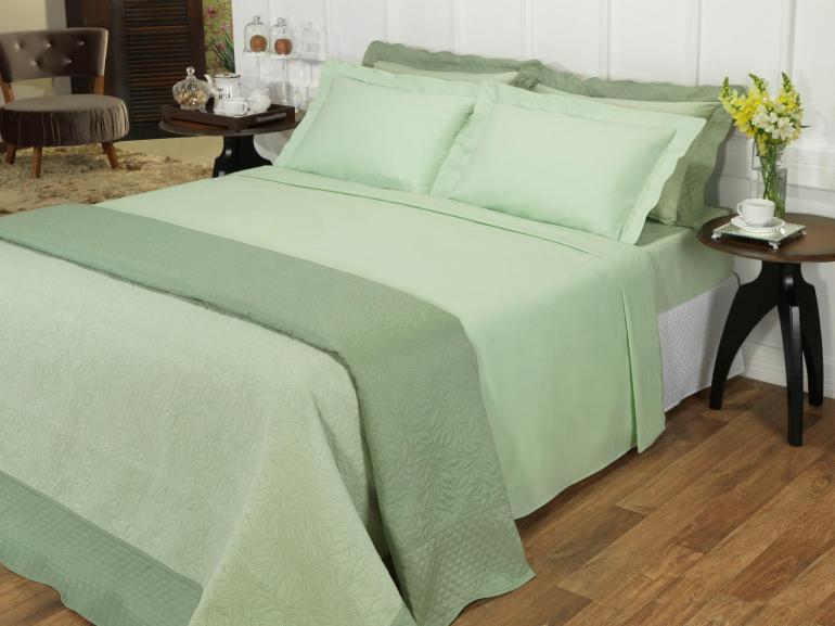 Jogo de Cama Casal Percal 200 fios 100% Algodão - Ipsum Verde Celadon - Dui Design